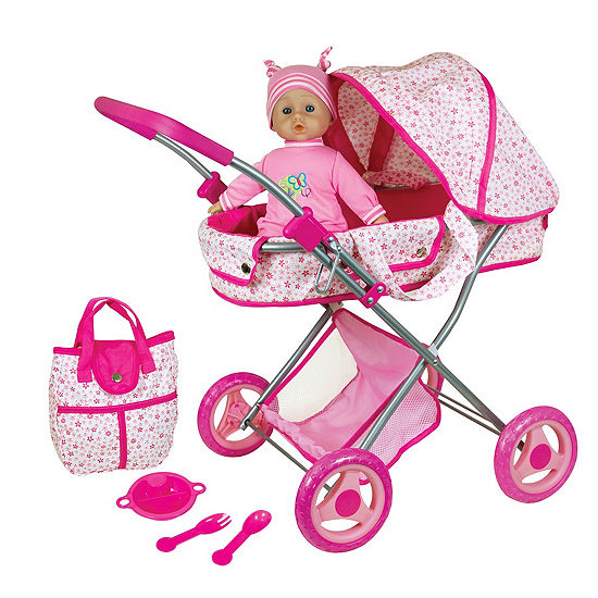 "Doll Pram With 13"" Baby Doll And Accessories"""