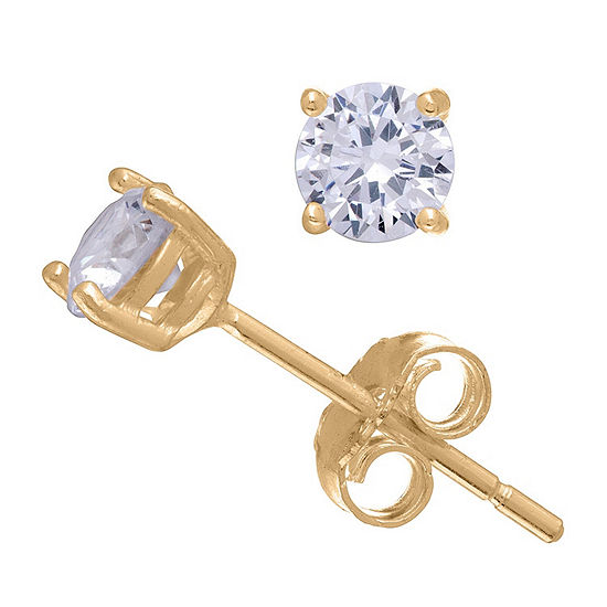 Diamonart 1/3 CT. T.W. White Cubic Zirconia 10K Gold Over Silver Round Stud Earrings