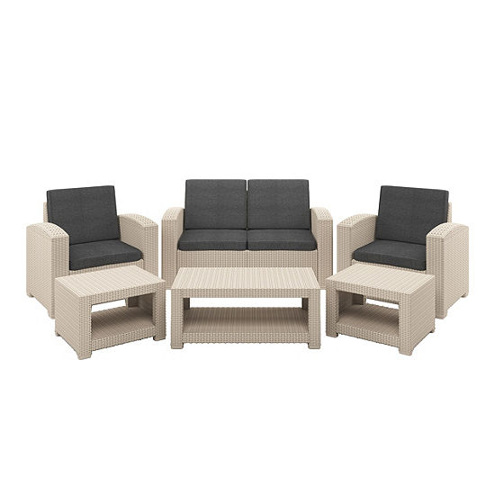 CorLiving 6pc All-Weather Beige Patio Set with Dark Grey Cushions