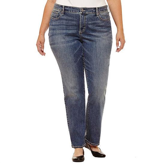 St. John's Bay Womens Mid Rise Stretch Straight Leg Jean