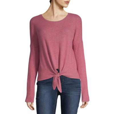 Arizona Womens Scoop Neck Long Sleeve Knit Blouse-Juniors