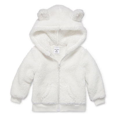 Okie Dokie Teddy Sherpa Full Zip Hoodie - Baby Girl NB-24M