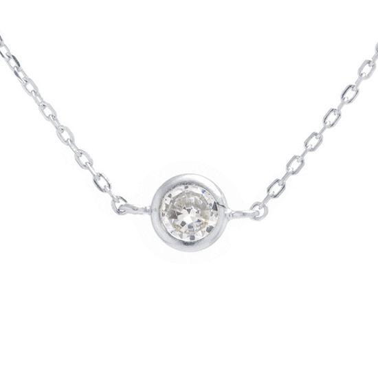 Silver Treasures Bezel Set Choker Womens Cubic Zirconia Sterling Silver Round Choker Necklace