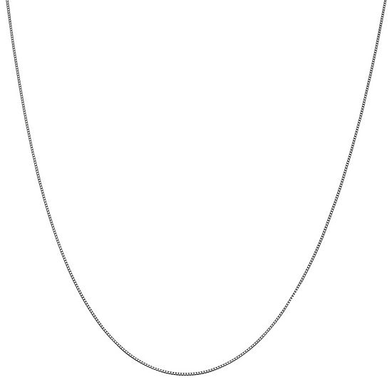 """10K White Gold 16-24"""" Solid Box Chain Necklace"""