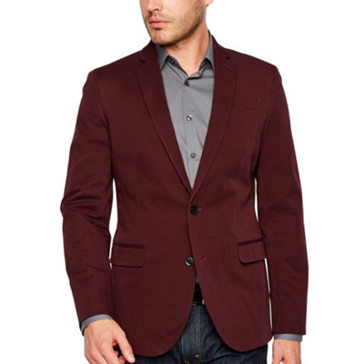 JF J.Ferrar 360 Everyday Stretch Burgundy Slim Fit Sport Coat