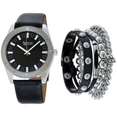 Mens Black And Silver Tone Strap Watch And Bracelet Set Mst5218S100-362
