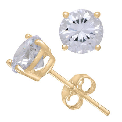 Diamonart 3/4 CT. T.W. White Cubic Zirconia 10K Gold Over Silver Round Stud Earrings