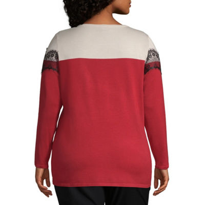 Worthington Long Sleeve Colorblock Lace Sweater - Plus