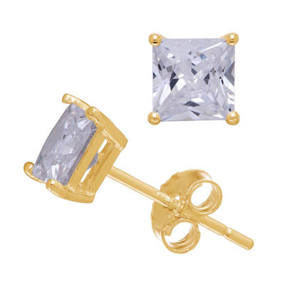 Diamonart 1/2 CT. T.W. White Cubic Zirconia 10K Gold Over Silver Square Stud Earrings