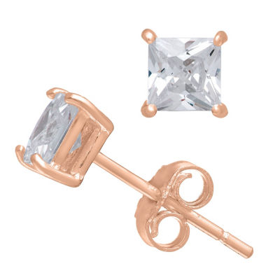Diamonart 1/3 CT. T.W. White Cubic Zirconia 10K Rose Gold Over Silver Square Stud Earrings