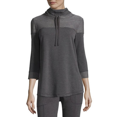 St. John's Bay Active 3/4 Sleeve Cowl Neck T-Shirt-Womens Petite
