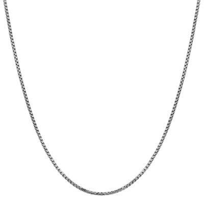 14K White Gold 16 Inch Hollow Box Chain Necklace