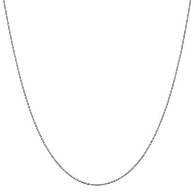 14K White Gold 16 Inch Solid Box Chain Necklace