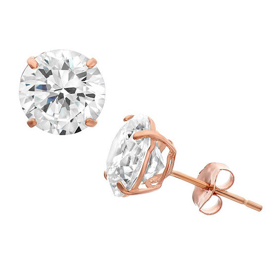 Diamonart 1 1/2 CT. T.W. White Cubic Zirconia 10K Rose Gold Over Silver Round Stud Earrings