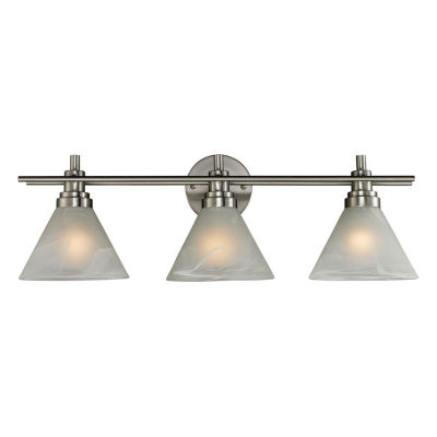 Pemberton 3 Light LED Vanity In Brushed Nickel And Marbelized White Glass