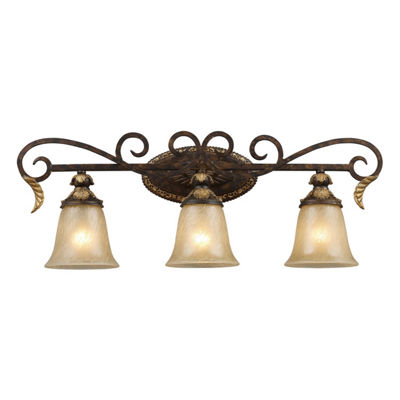 Regency 3 Light LED Vanity In Burnt Bronze And Gold Leaf