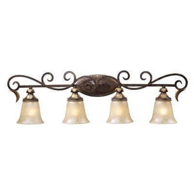 Regency 4 Light LED Vanity In Burnt Bronze And Gold Leaf