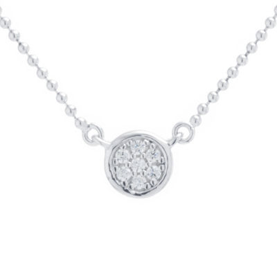 Silver Treasures Choker Womens Clear Cubic Zirconia Sterling Silver Round Choker Necklace