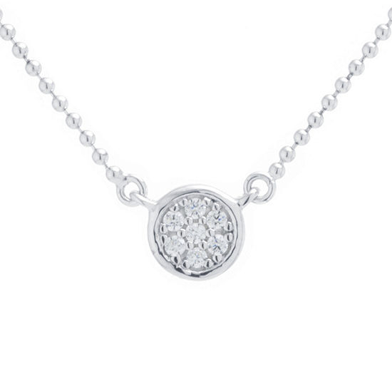 Silver Treasures Choker Cubic Zirconia Sterling Silver 14 Inch Bead Round Choker Necklace