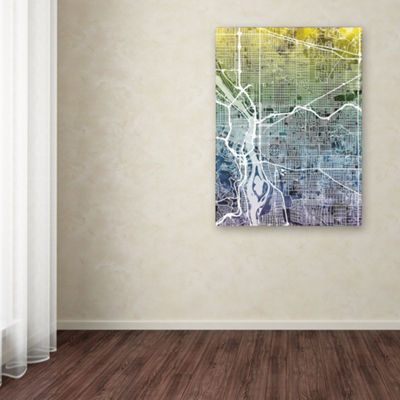 Trademark Fine Art Michael Tompsett Portland Oregon Street Map V Giclee Canvas Art