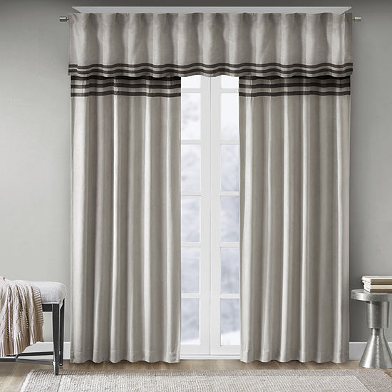 Madison Park Dune Microsuede Striped Light-Filtering Back-Tab Set of 2 Curtain Panel