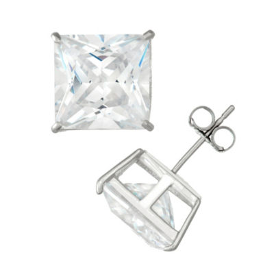 Diamonart 2 1/4 CT. T.W. White Cubic Zirconia Sterling Silver Square Stud Earrings