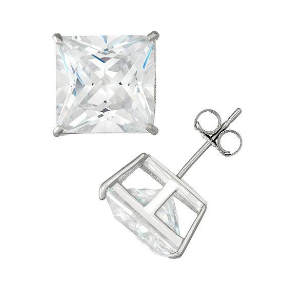 Diamonart 2 1/4 CT. T.W. White Cubic Zirconia Sterling Silver Square Stud Earrings