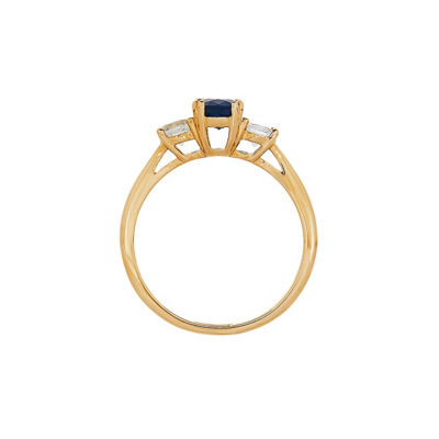 Womens Genuines Blue Sapphire 10K Gold Cocktail Ring