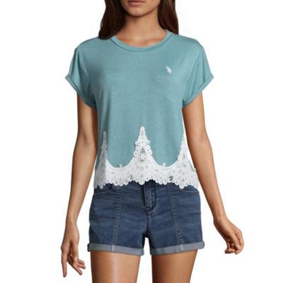 Us Polo Assn. Short Sleeve Round Neck T-Shirt-Womens Juniors