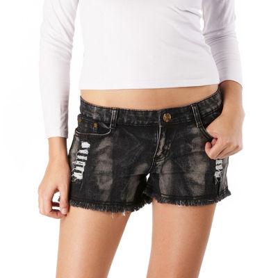 phistic Women's Destructed Denim Frayed Shorts