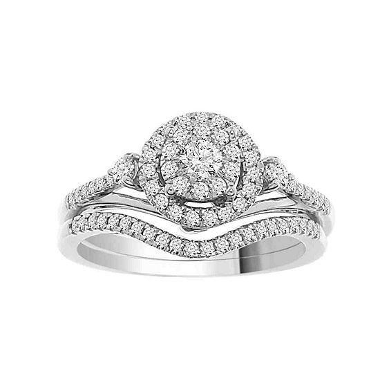 Womens 1/2 CT. T.W. Genuine White Diamond 14K White Gold Bridal Set