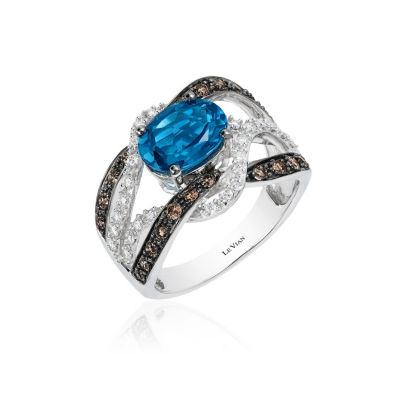 Grand Sample Sale™ by Le Vian® Deep Sea Blue Topaz™ and Chocolate & Vanilla Diamonds™ Ring in 14k Vanilla Gold®