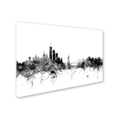 Trademark Fine Art Michael Tompsett New York Skyline B&W Giclee Canvas Art