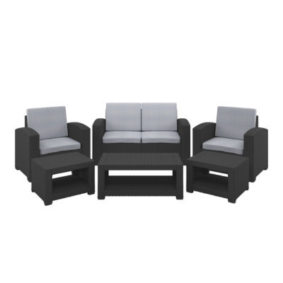 CorLiving 6pc All-Weather Black Patio Set with Light Grey Cushions
