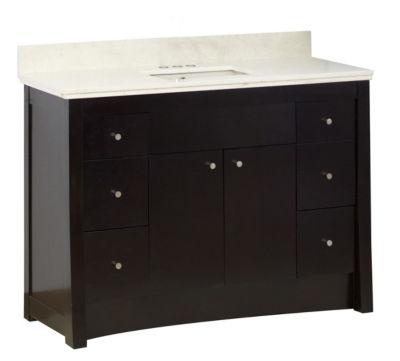 47.6-in. W Floor Mount Distressed Antique Walnut Vanity Set For 3H4-in. Drilling Beige Top Biscuit UM Sink