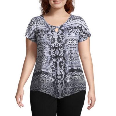 Unity World Wear Flutter Tee with Crochet Back - Plus