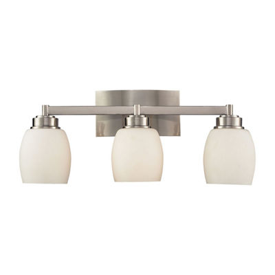 Northport 3 Light LED Vanity In Satin Nickel And Opal White Glass