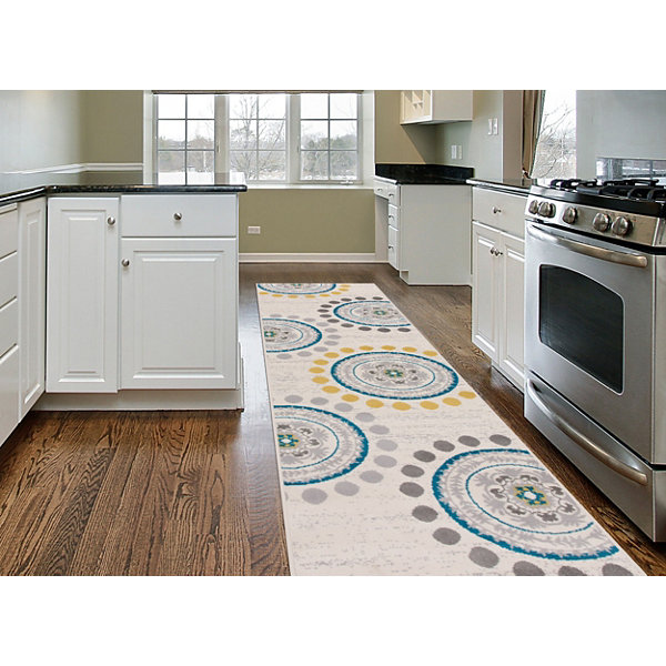 World Rug Gallery Contemporary Circles and Dots Runner Rug