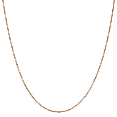 14K Rose Gold Solid Box 16 Inch Chain Necklace