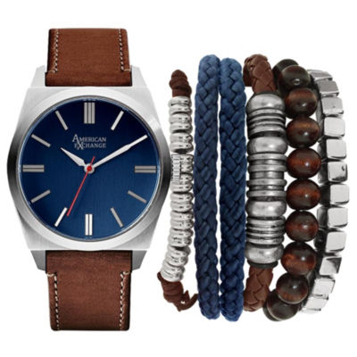 Mens Brown And Silver Tone Strap Watch And Bracelet Set Mst5183S100-709