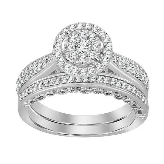 Womens 3 4 Ct Tw Genuine White Diamond 14k White Gold Bridal Set