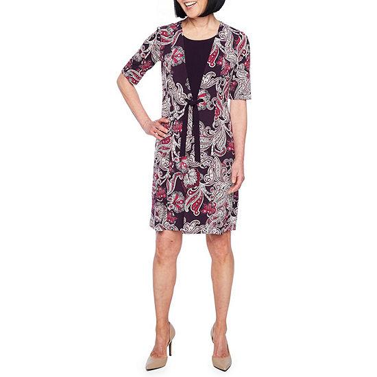 Perceptions Short Sleeve Faux-Jacket Dress