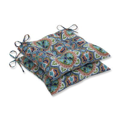 Pillow Perfect Set of 2 Lagoa Tile Flamingo Wrought Iron Patio Seat Cushion