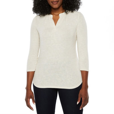 Liz Claiborne Womens Split Crew Neck 3/4 Sleeve Knit Blouse-Petite