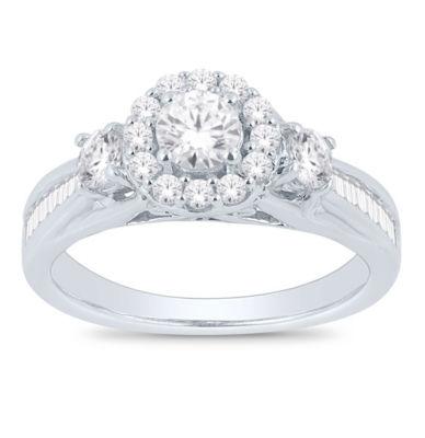 Womens 1 CT. T.W. White Diamond 14K White Gold Engagement Ring