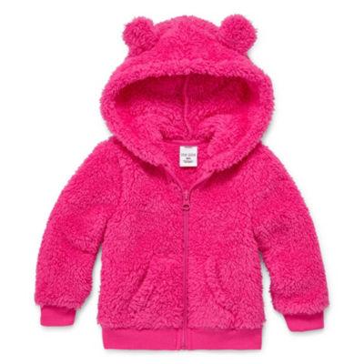 Okie Dokie Teddy Sherpa Full Zip Fleece Hoodie - Baby Girl NB-24M