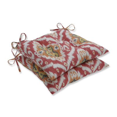 Pillow Perfect Set of 2 Ubud Coral Wrought Iron Patio Seat Cushion