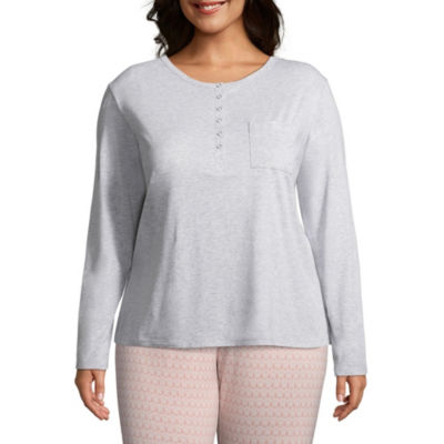 Liz Claiborne Knit Long Sleeve Pajama Topt-Plus
