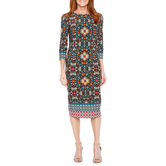 Liz Claiborne 3/4 Sleeve Floral Sheath Dress