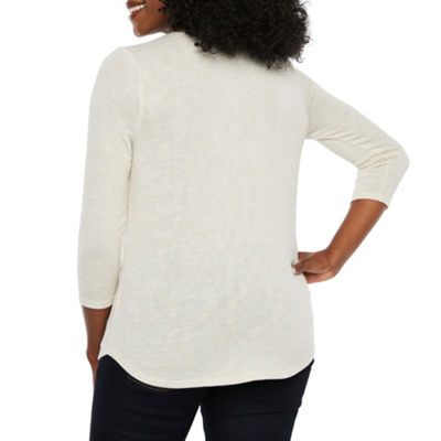 Liz Claiborne 3/4 Sleeve Split Crew Neck Knit Blouse-Petite